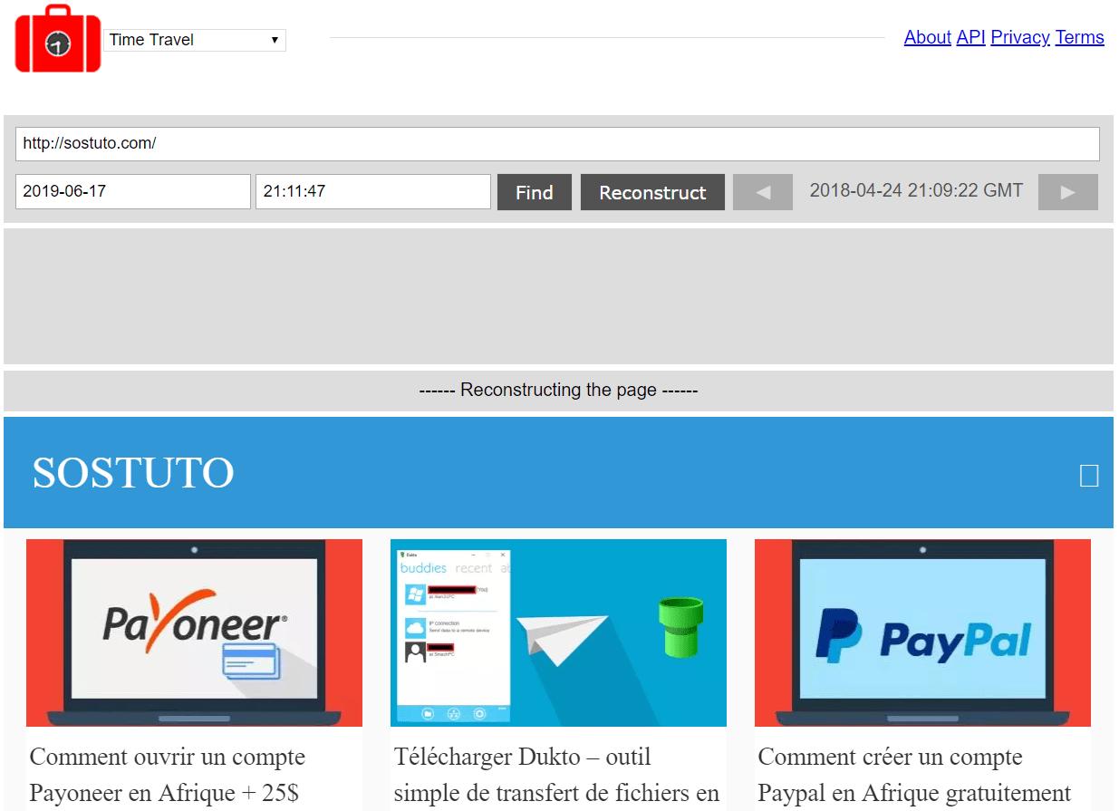 SOStuto Memento Time Travel Wayback Machine – Voir un Site Web à une Date Antérieure