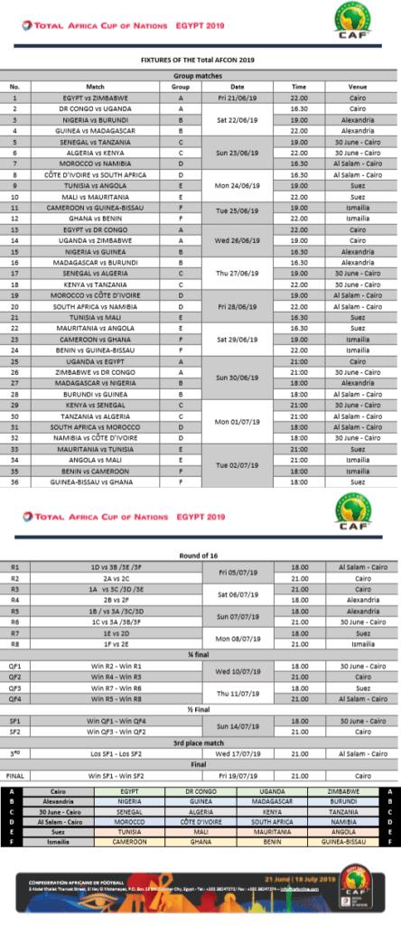 calendrier complet can 2019 CAN 2019 – Où Regarder les Match de la Coupe d'Afrique 2019 (TV/Streaming)