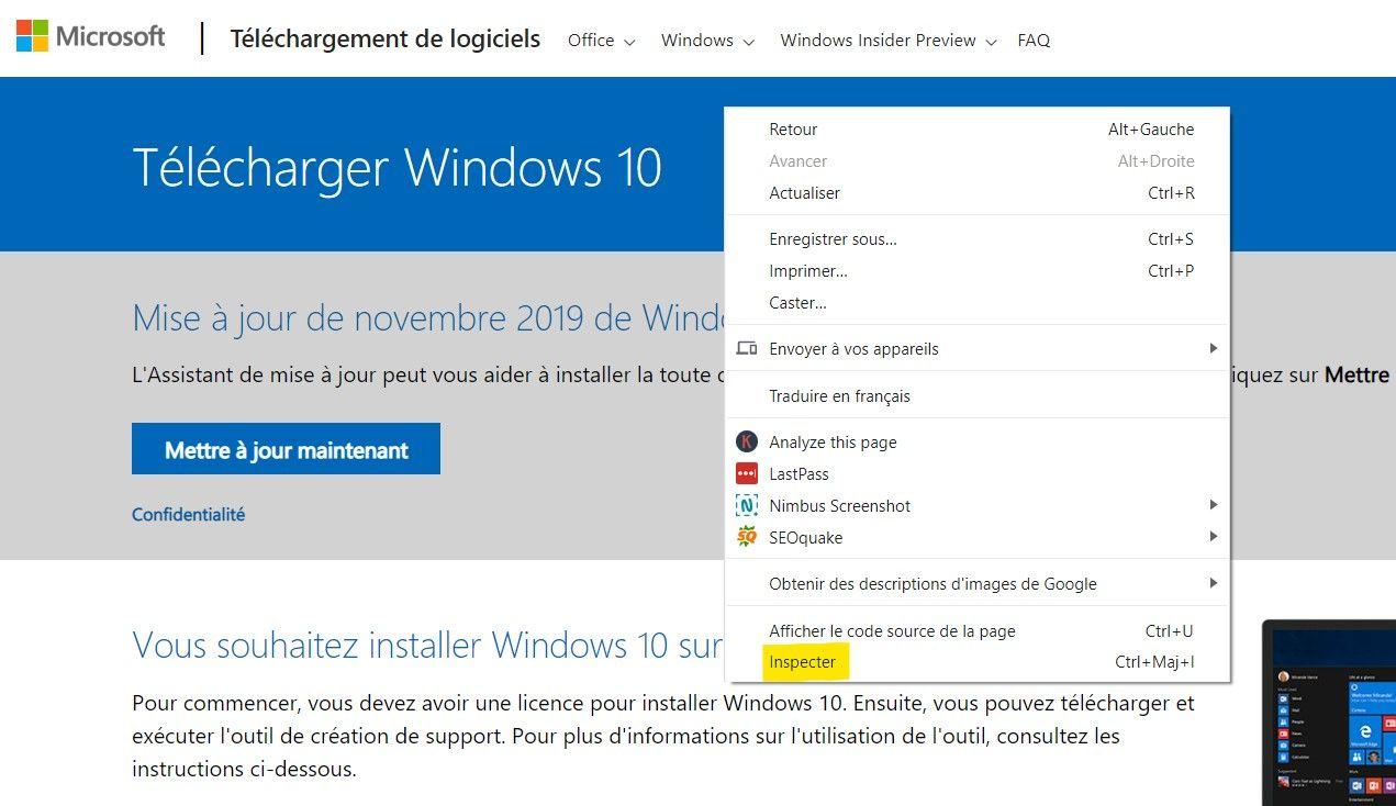 Inspecter la page  Télécharger Windows 10 32 bits/64 bits français ISO (Depuis Microsoft.com)