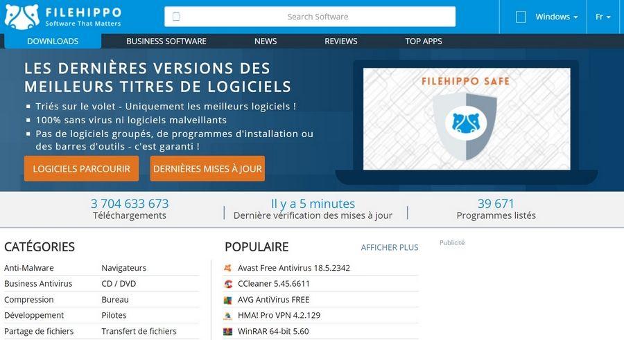 FileHippo 2018 Les Meilleurs Sites de Téléchargement des Logiciels Gratuitement