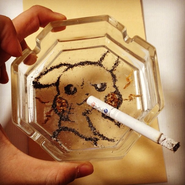 Japanese Artist Makes Anime Portraits Out Of Cigarette Ashes