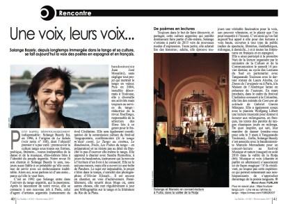 """Article """"Une voix, leurs voix"""" de Marie-Anne Furlan paru dans la revue La Salida de février-mars 2017"""