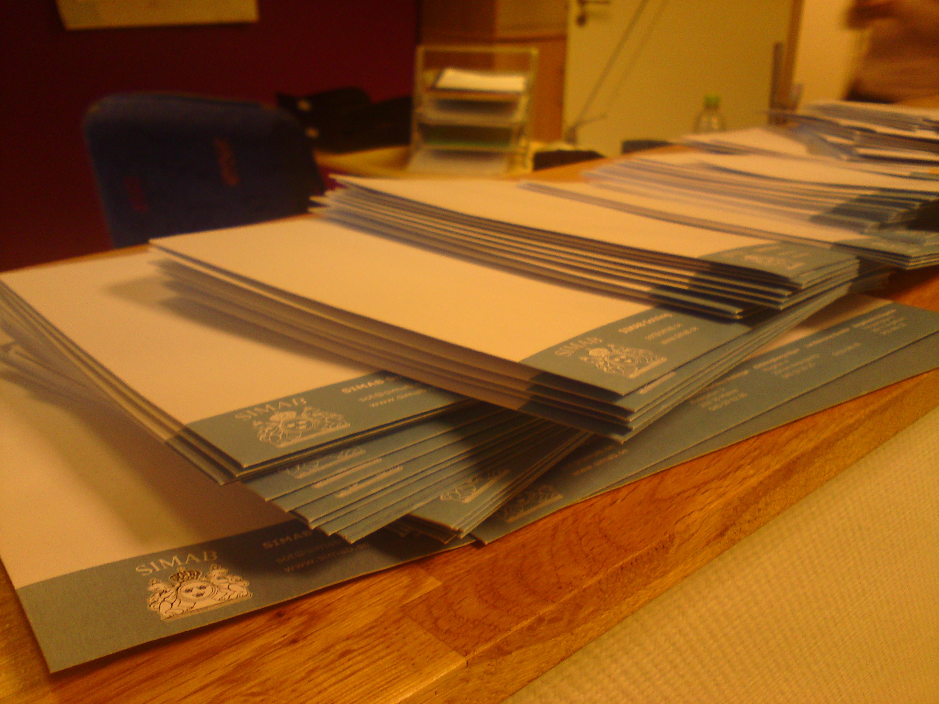 SIMAB skickar åtskilliga brev dagligen.