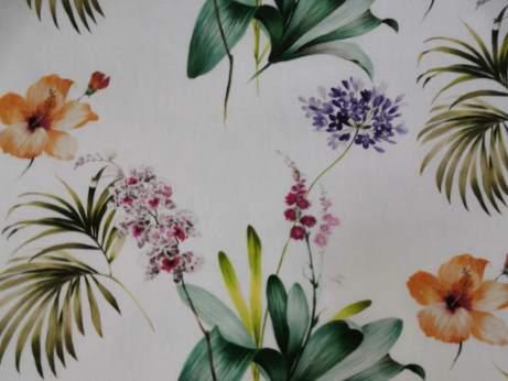 Lila, narancs virágos pamut vászon