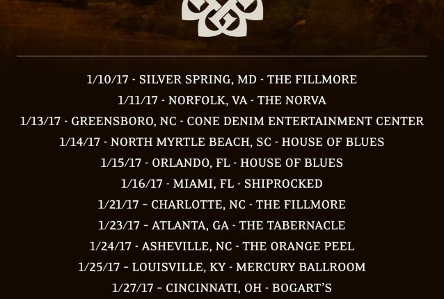 BREAKING BENJAMIN Announces January 2017 Tour Dates; Special BLABBERMOUTH.NET Presale