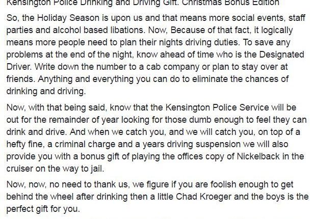 NICKELBACK Asks Canadian Police To Remove Post About Subjecting Drunk Drivers To Band's Music