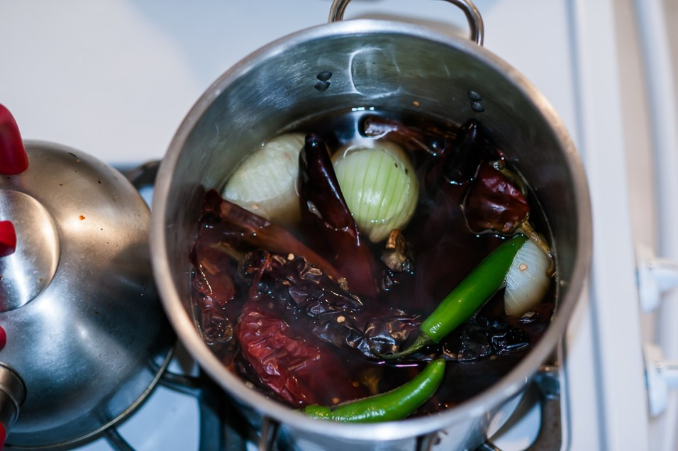 Simmering ingredients for red salsa