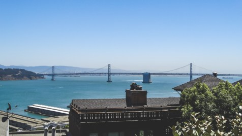 Oakland Bay Bridge seen from Coit Tower in San Francisco