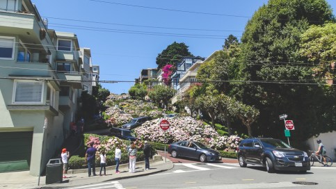 At the bottom of Lombard Street