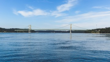 View of Tacoma Narrows Bridge from Steilacoom, a marina between Olympia and Seattle