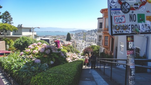 Local flavor at the top of San Francisco's curvy Lombard Street