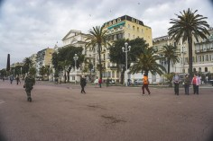 Soldiers patrol the Promenade des Anglais in Nice, France