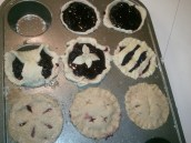 To save time and dough, I used different filling and dough combos in my muffin pan. Ain't they cute?