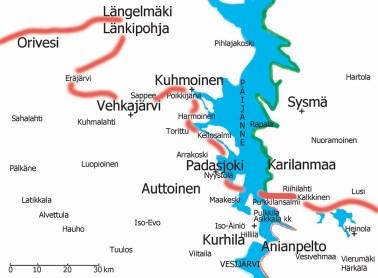 Tilanne ennen Kuhmoisten taistelua 10.3.1918. Valkoisten tukialue on linjan  pohjoispuolella. Orivesi ja Längelmäki olivat punakaartin hallussa.