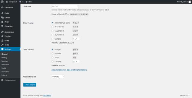 WordPress General Settings 2