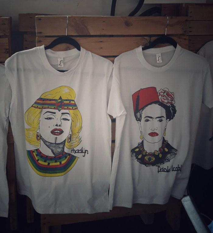 T-shirts Marilyn et Frida Kahlo - prix: 40 euros sans frais de port - envoi à l'international