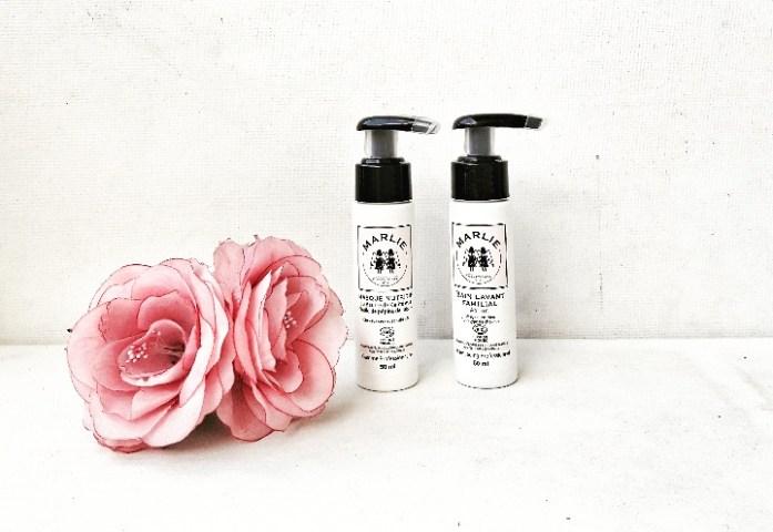LES CHEVEUX: Bain lavant familial cheveux et masque nutritif MARLIE BIO. La gamme de soins capillaires Marlie Bio est composée d'une dizaine de  produits conçus à base de plantes, d'huiles essentielles bio et d'huiles végétales.