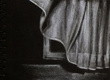 curtains- pencils on black paper-2017