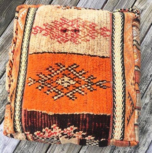 vintage moroccan kilim pouf