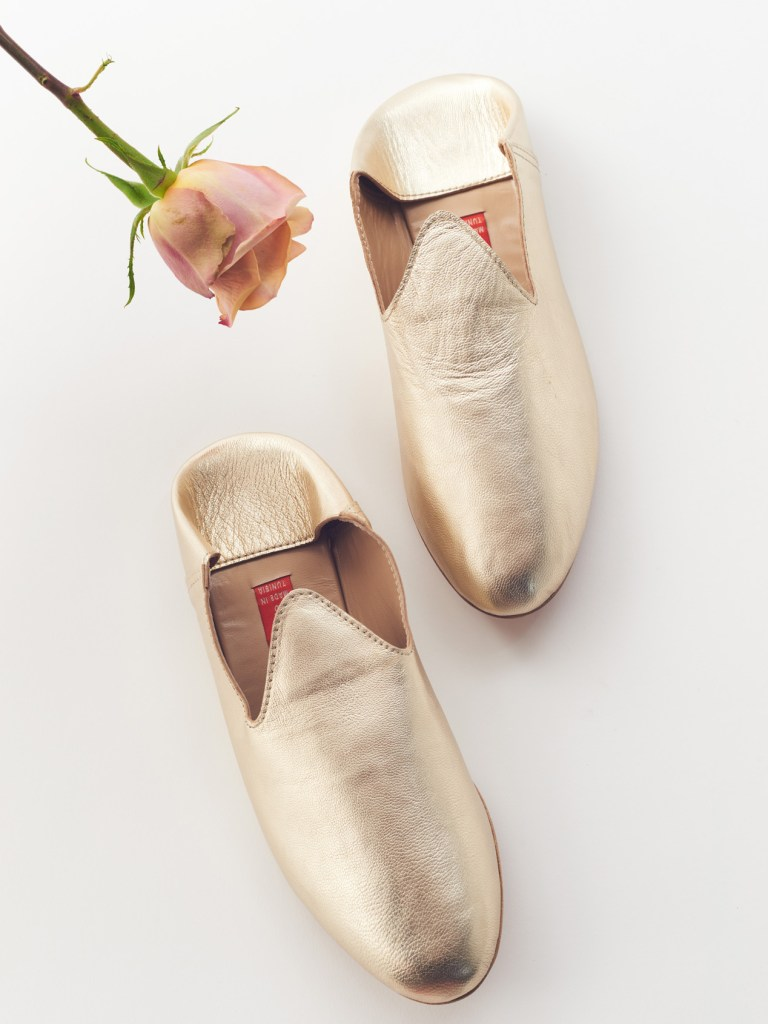 gold babouches slipper shoes