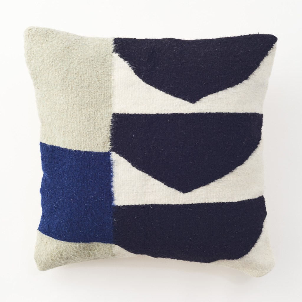 artisans wool geometric pillow blue
