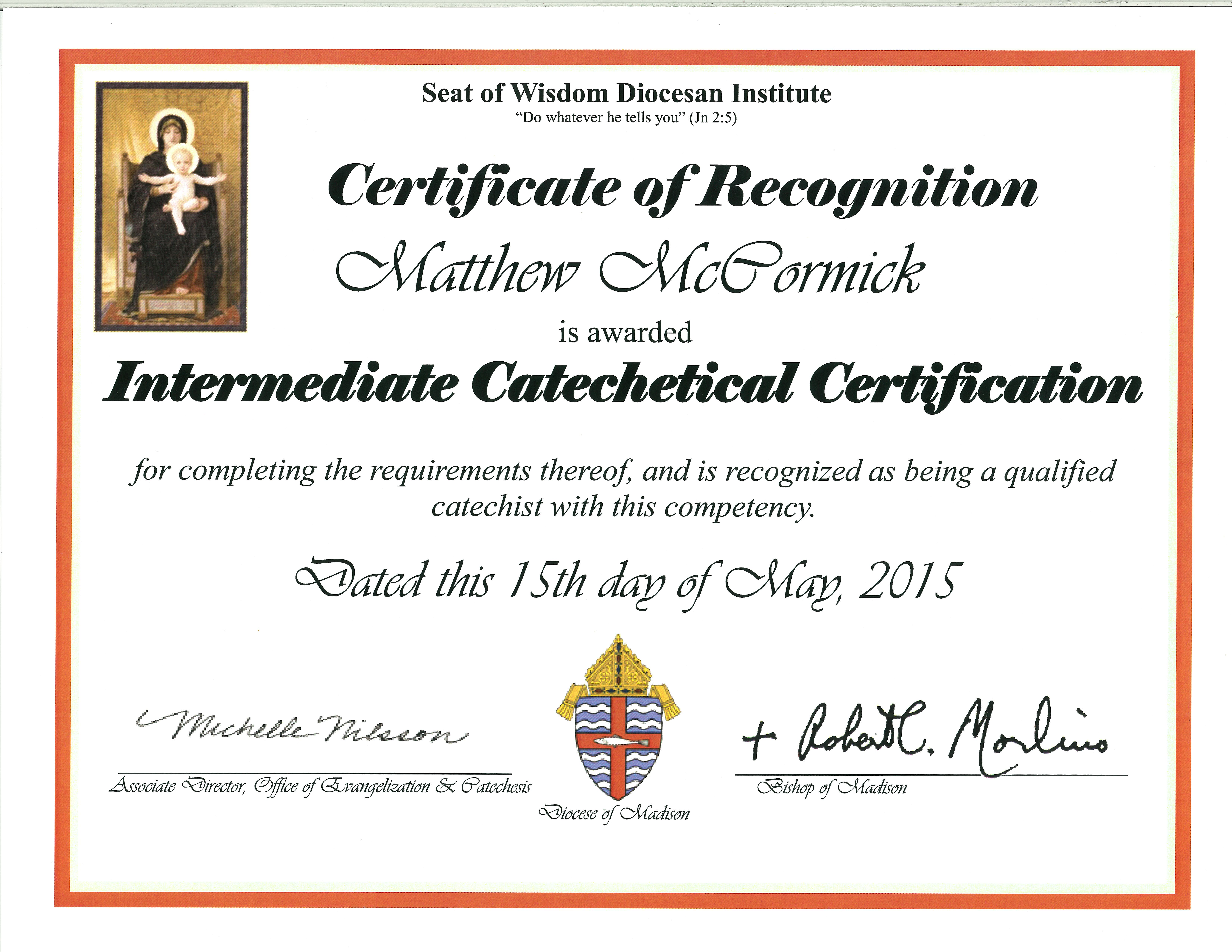 Certificate Intermediate Catechetical Diocese Of