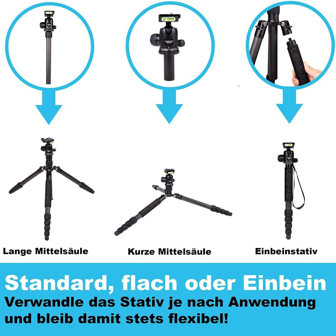Lens-Aid Profi-Carbon Reisestativ