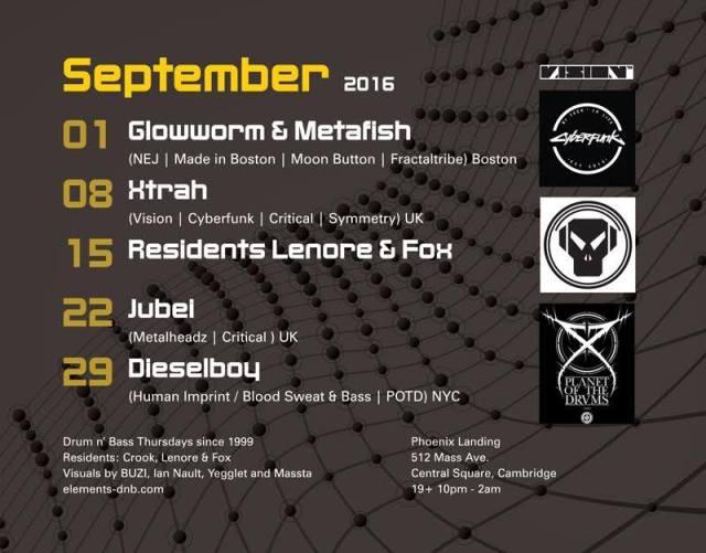 Elements September Lineup