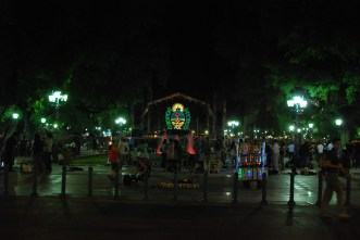 San Martin square at night: the town getting stoked for wine fest!