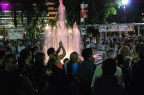 All the fountains in Mendoza are colored red for the Wine Festival