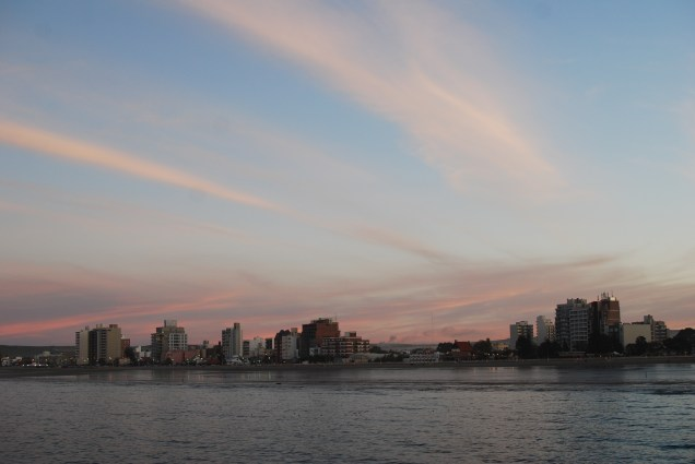Puerto Madryn, Argentina at sunset.