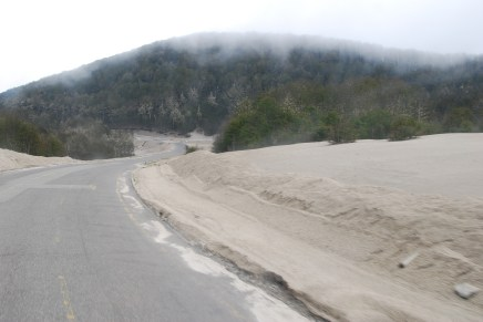 Volcanic ash on the pass to Chile