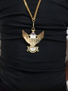 "33rd-Degree-Double-Headed-Eagle-Medallion-""Wings-Up""-gold-chain"