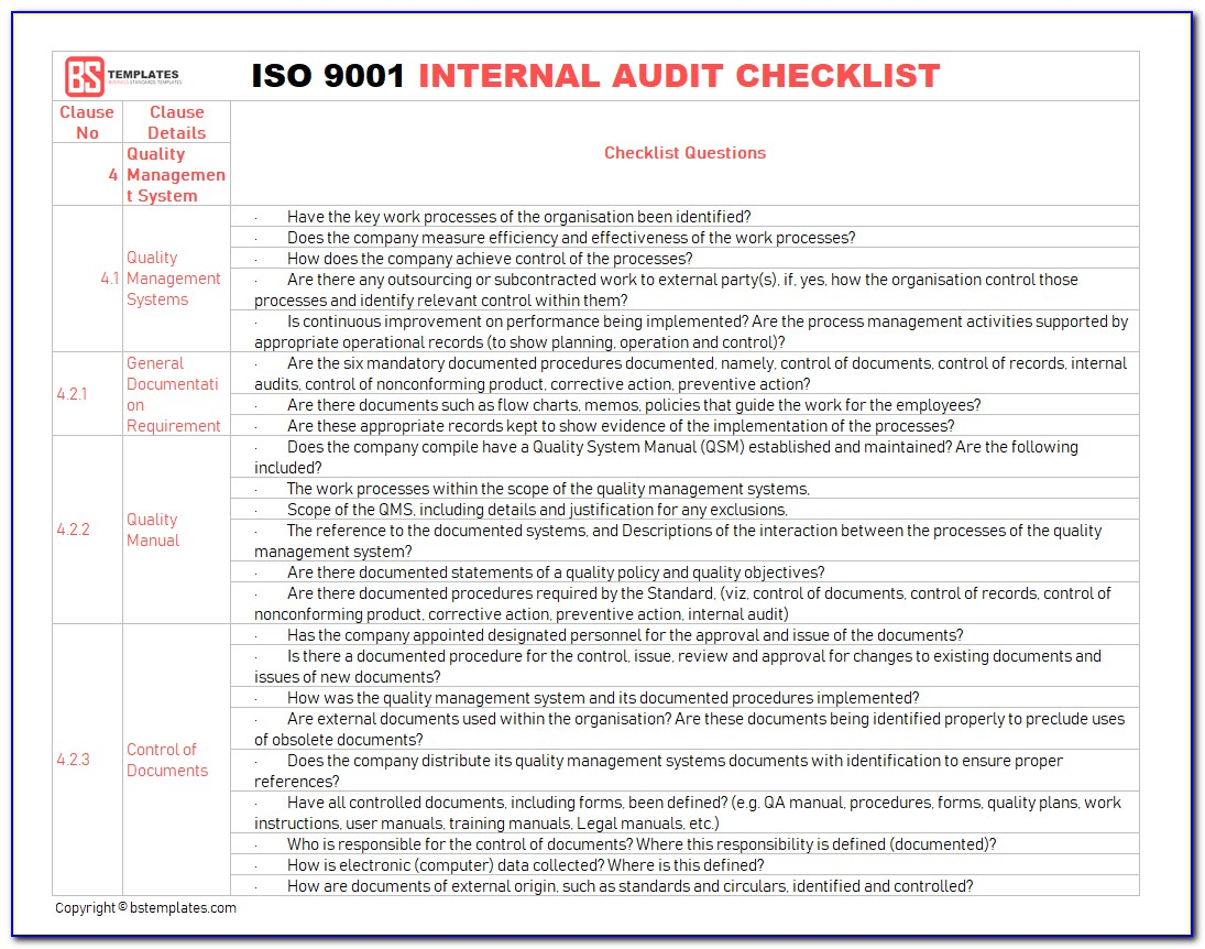 Sample Internal Audit Report Iso
