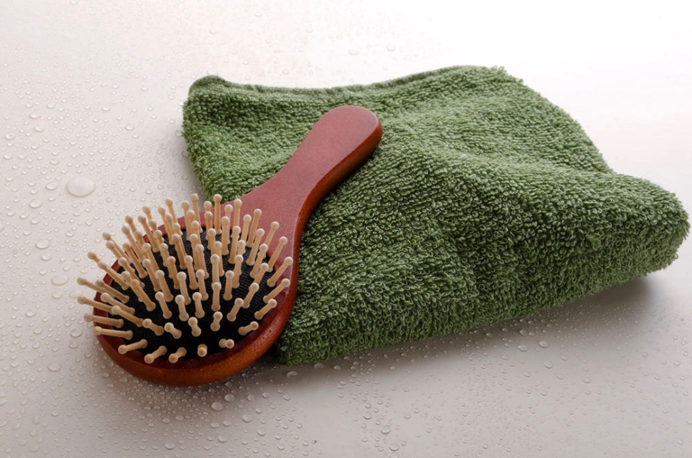 Rinse thoroughly and let the hairbrush air dry