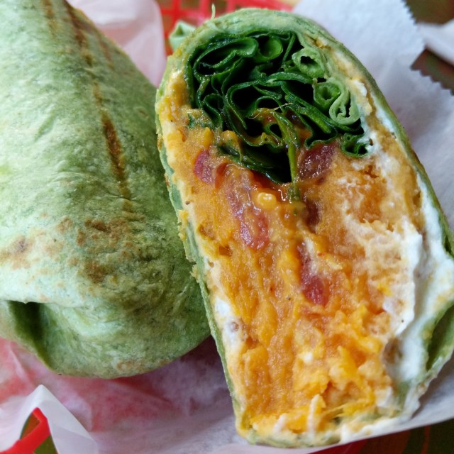 Sweet potato, spinach, and goat's cheese wrap