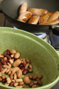 Use half beans to cover the bottom of the casserole dish.