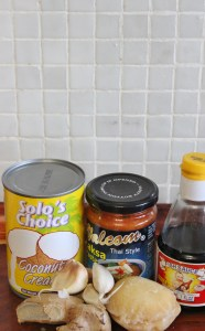 Simple base ingredients to a good laksa.