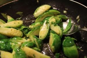 Add salt, pepper, garlic, lemon zest, juice and butter.