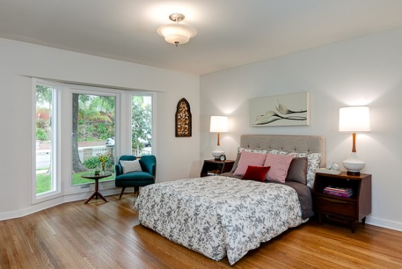 Bedroom with bay window and attached bath