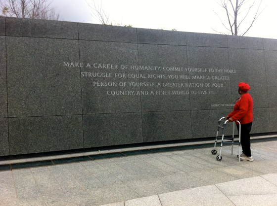 Poignant moment at the MLK Monument in D.C.
