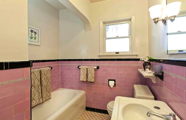 Original tile bath with shower alcove