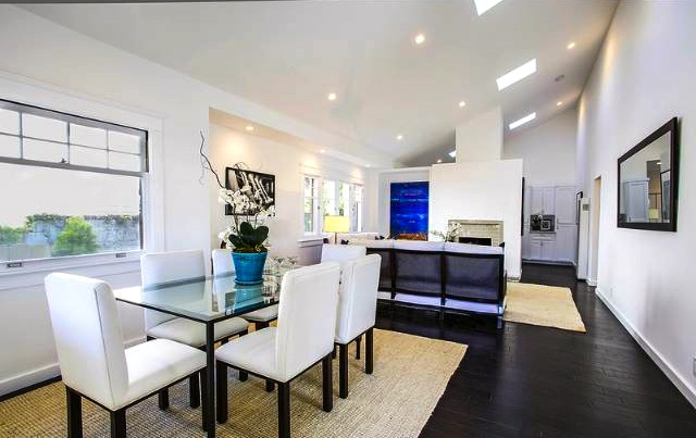 Dining area and floating fireplace