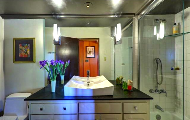Bath and walk-in shower with custom glass enclosure