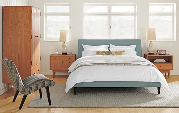 Clean lines and minimal furniture make this mid-century style bedroom
