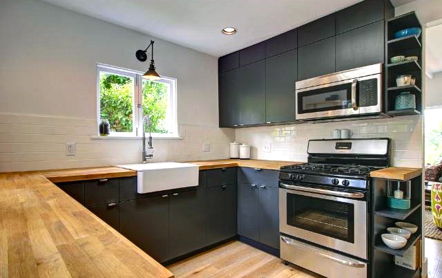 Kitchen with butcher block counters and farmhouse sink