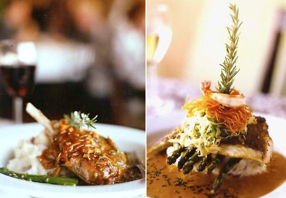 (L) Pork Chop Normande and (R) Red Thai Curry Snapper