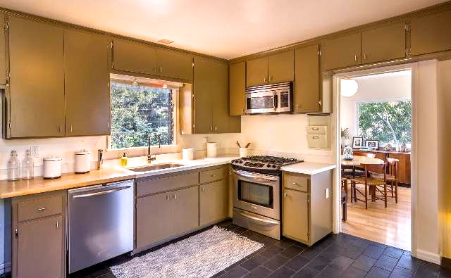 Roomy kitchen with built-in cabinets