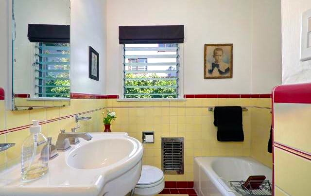 Vintage bath with alcove shower