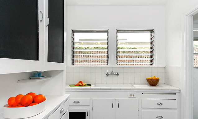 Vintage kitchen with built-in cabinets